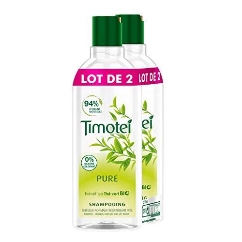 Timotei Shampoing Femme Pure, Extrait de Thé Vert Bio, Idéal pour les cheveux normaux regraissant vite (Lot de 2x300ml)