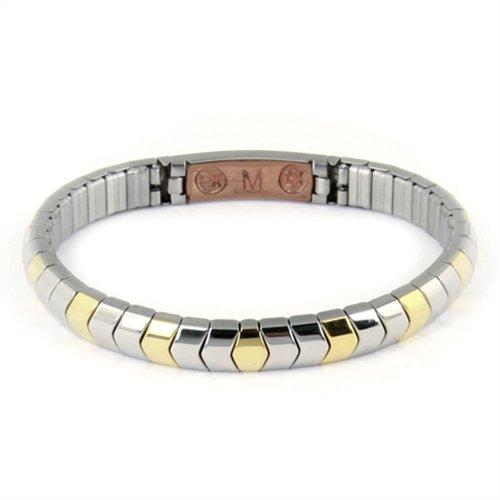 Energetix - Edelstahl Flexi-Armband, mit Kupfer, bicolor, poliert, gravierbar, antiallergen, Breite 7 mm, Grösse L, 2 Neodym-Magnete, Nr. 440L