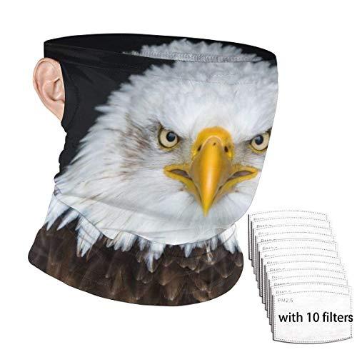 ENZOOIHUI Águila Calva América del Norte Bufanda de la Cara sin Costuras Bufanda Oreja con 10 filtros Antipolvo Cuello Polaina Sombreros Pasamontañas