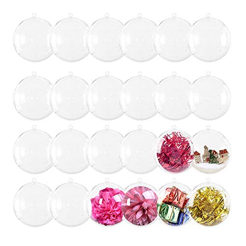 Zddaoole 24 Pack 70mm Clear Plastic Fillable Ornaments Ball,Clear Fillable Balls,Plastic Balls for Gifts for Christmas,Bath Bombs,Gifts,DIY Craft