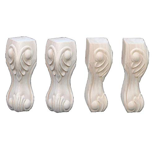 Furniture Legs Wooden Table Legs Furniture Leg Pads,Reliable Solid Wood Flower Carved Foot Frame Decor Furniture Table TV Cabinet Seat Sofa Feet Craft Unpainted Door Decor Wall Art,c,15 * 6.