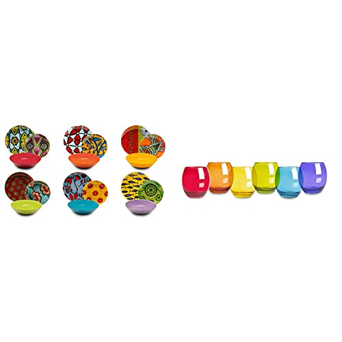 Excelsa Afrika Vajilla de 18 piezas, porcelana y cerámica, multicolor + San Josè Juego de 6 vasos de agua, cristal, multicolor