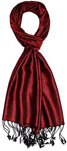 Lorenzo Cana - Herren Seidenschal Schal 100% Seide jacquard gewebt harmonische Farben mit Fransen 35 cm x 160 cm Paisley Muster Seidentuch Männerschal 7840911