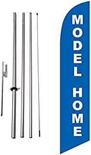 Model Home Feather Banner Swooper Flag Kit, Includes 15 Foot Flag Pole and Steel Ground Stake – Feather Flag Nation