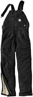 Carhartt Men's FR Duck Bib Lined Overall, Black, 32W X 28L