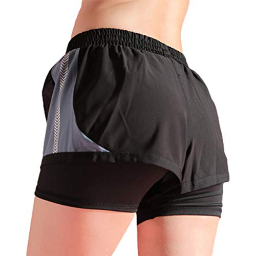 Pantalones Cortos para Mujer Verano Deportes al Aire Libre Pantalones Cortos Deportivos para Correr Transpirables Pantalones Cortos Deportivos Ajustados Informales Atractivos de la Cadera L