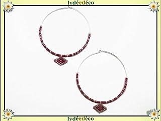 Orecchini a cerchio argento 925 perle rombo vetro giapponese pastello rosa 40mm regalo personalizzato noel fidanzata festa...