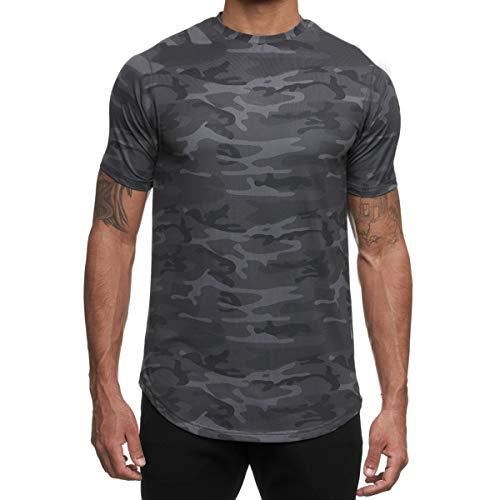 Magiftbox Camisas musculares de manga corta para hombre de malla para entrenamiento, para hombre, ligeras y de secado rápido T42 - gris - Large