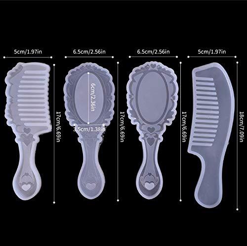 Kapmore 4 PCS Resin Comb Resin Mold Casting Molds Silicone Epoxy Resin Molds Silicone Comb Mold for DIY Mirror Hair Comb…