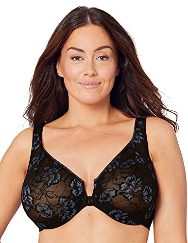 Full Figure Wonderwire Front Close Stretch Lace Bra with Narrow Set Straps #9246 Black