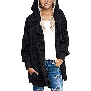 Women's Fuzzy Fleece Jacket Solid Open Front Hooded Cardigan Coats Ou...