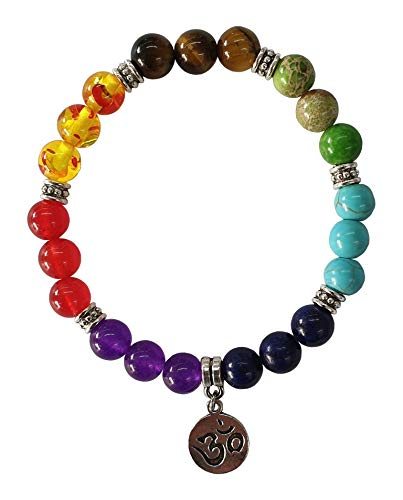 Women's bracelet 'Chakra Om - Aum' 21 gemstones with metal pendant and flexible rubber band, diameter 7 cm, 20 g.