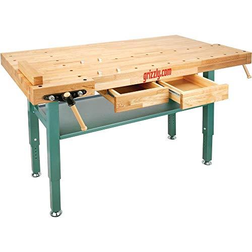 Grizzly Industrial T10157 - Heavy-Duty Oak Workbench with Steel Legs