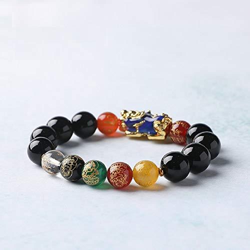 Deykhang Fengshui Obsidiana y Negro ágata Cinco Elementos Cinco Dioses de la Riqueza 10mm Tallado Pulsera atraer la Suerte y la Riqueza Regalado