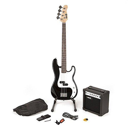 RockJam voller Größe Bassgitarre Super-Kit mit Gitarrenverstärker Gitarren-Tuner Gitarrenständer Gitarrentasche und schwarz Zubehör