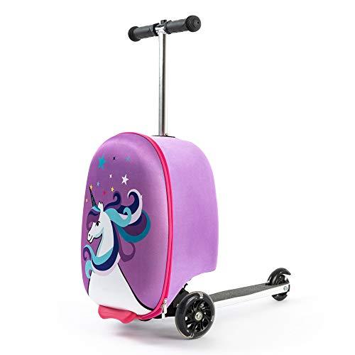Kiddietotes Hardshell Carry-on Scooter Suitcase - Light Up LED Wheels - Unicorn