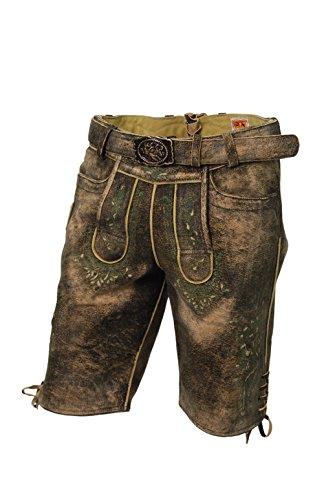 MADDOX Kurze Lederhose, mit Gürtel, echtes Ziegenleder, Trachtenlederhose im Used Look, alle Größen (56)