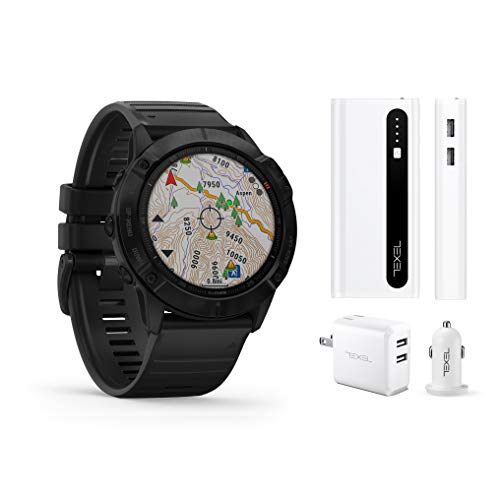 Garmin Fenix 6X Pro Black with Black Band, Premium Multisport GPS Watch (010-02157-00) and Texel 10,000mAh Portable Battery Pack, Wall and Car Charger Bundle