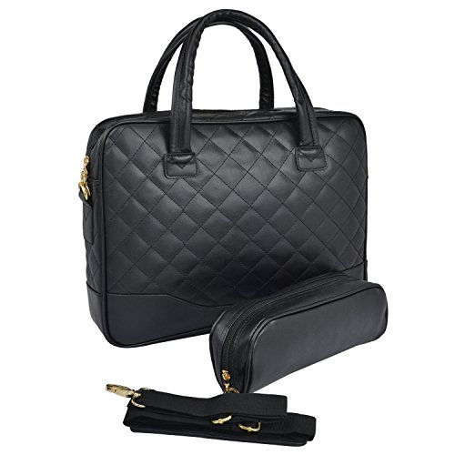 Hot Sale 14.1 inch Classic All Black Professional Diamond Quilted Pattern Bubble Foam Padded Laptop Computer Notebook Sleeve Office Tote Briefcase Carry Case Messenger Shoulder Bag