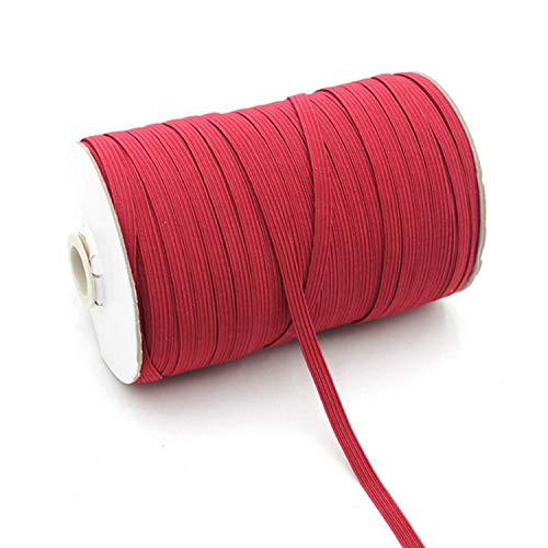 10 Yards Colored Elastic Bands for Sewing 1/4 Inch Wide (6mm) Flat Elastic Braided Strap for DIY (Red)
