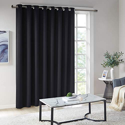 Illuminology Blackout Curtains for Bedroom | Thermal Insulated Room Darkening Window Treatments W/Grommet Top | Triple Weave | Ideal for Nursery Or Kids Room |Black 100x84-1 Panel
