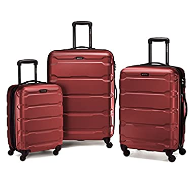 Samsonite 68311 Omni PC Hardside Spinner  20 24 28,  Red,  3 Piece Set