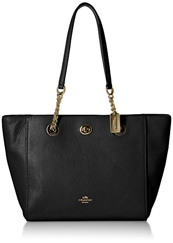 COACH Pebbled Turnlock Chain Tote 27 Li/Black One Size