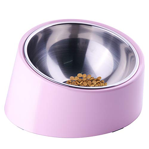 Super Design Mess Free 15° Slanted Bowl for Dogs and Cats, Tilted Angle Bulldog Bowl Pet Feeder, Non-skid & Non-spill, Easier to Reach Food S/0.5 Cup Light Pink