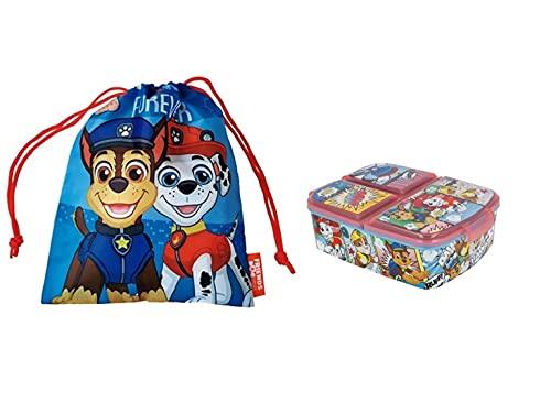Sandwichera con 3 Compartimentos para niños - lonchera Infantil - Porta merienda - Fiambrera Decorada- bolsa porta alimentos-sandwichera escolar. (Pack Patrulla Canina)