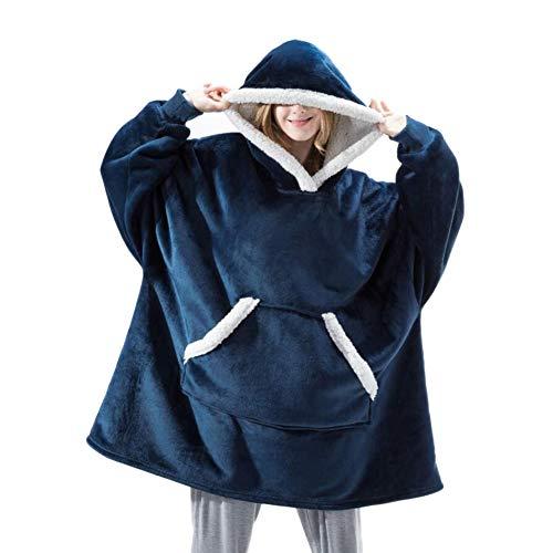 Sweat Plaid Ultra Geant Doux Plaid Capuche en Polaire Pull Chaud Oversize Sherpa Couverture pour Femme Homme Enfant