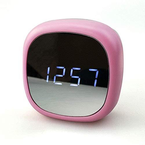 Woodtree Despertador Digital, con Interfaz USB, Puede Ajustar el Brillo del atenuador, un Espejo Grande Pantalla Digital Hacer, Verde, Color: Blanco (Color : Pink)