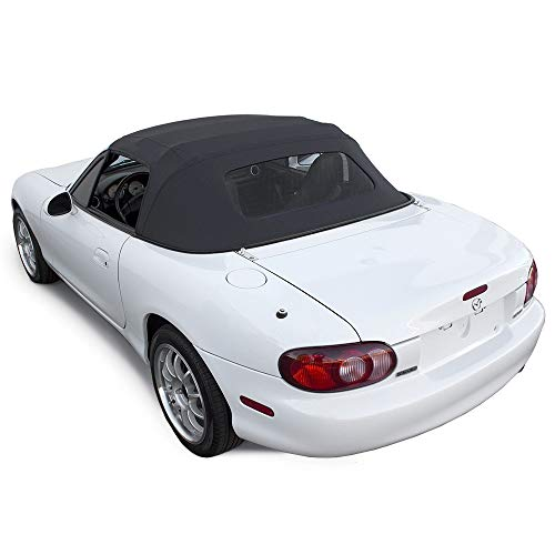 Compatible With Mazda Miata Convertible Top 1990-2005 One-Piece Non-Zippered Heated Glass Window in Cabrio Vinyl (Black)