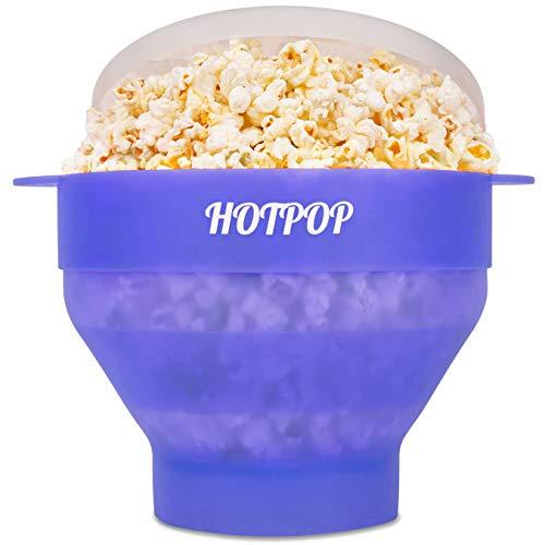 Das Original Hotpop Mikrowellen-Popcorn-Popper, Silikon-Popcorn-Maker, faltbare Schüssel, BPA-frei und spülmaschinenfest (gletscherblau)