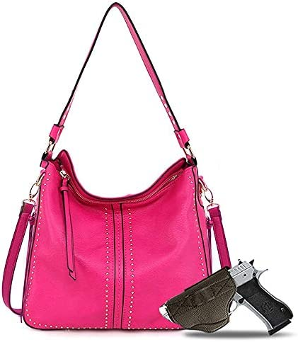 Genuine Leather Concealed Carry Hobo Purse For Women Studded Cowhide Ladies Shoulder Bag With product image