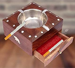 RGrandsons Handmade Wooden Ashtray with Cigarette Holder 4 Slots for Home Office Car Gifts with drawar