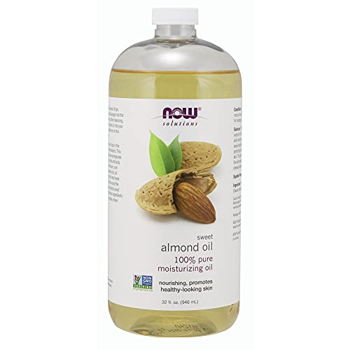 NOW Solutions, Sweet Almond Oil, 100% Pure Moisturizing Oil, Promotes Healthy-Looking Skin, Unscented Oil, 32-Ounce