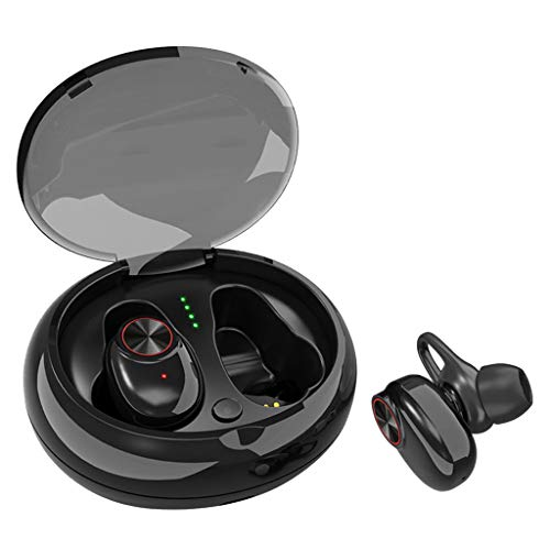 perfk V5 Auriculares Inalámbricos Deportivos con Caja de Carga de 500 mAh para Android iOS, Micrófono Incorporado - Black
