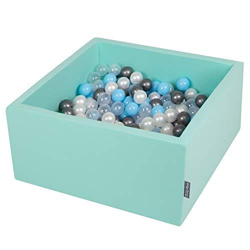 KiddyMoon 90X40cm/200 Balles ∅ 7Cm Carré Piscine À Balles pour Bébé Fabriqué en UE, Menthe : Transparent/Argenté/Perle/Babyblue