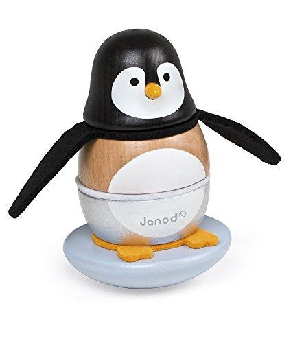 Janod J08127 Zigolos Stehaufmännchen aus Holz, Pinguin