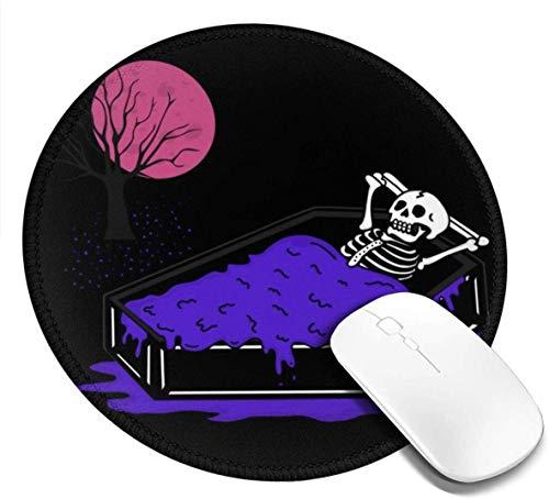Waschbare runde Mausunterlage - Drucken von Gaming Mousepad mit Totenkopf-Bildschirmfoto für Computer/Laptop - 7,87 Zoll x 7,87 Zoll rutschfeste Gummimausunterlage