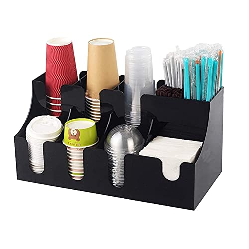 ZXNRTU Lightweight and Durable 2-Tier 9 Compartment Coffee Condiment and Accessories Organizer Acrylic Materia, Black