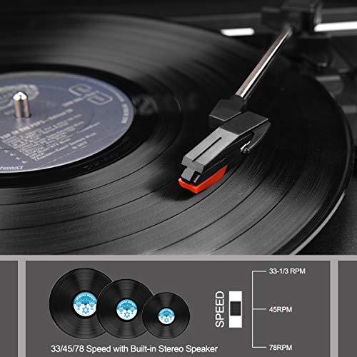 Plattenspieler , AETKFO Bluetooth Plattenspieler 3-Gang Vinyl Plattenspieler mit Lautsprecher, Unterstützung Aufnahme Vinyl, Cinch & USB Ausgang / AUX-In / Kopfhöreranschluss, Koffer Design (schwarz) - 3