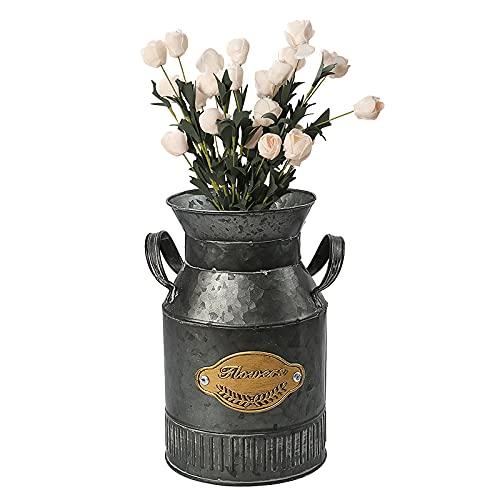 Florero vintage de metal, florero de jarra rústico, florero shabby chic, lata de leche maceta soporte de flores galvanizado, jarra, cubo para jardín, boda, decoración de oficina en casa