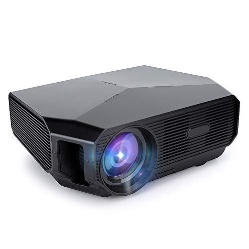 Goshyda Mini proyector, A4300 Proyector portátil 4k Bluetooth4.0, para Cine en casa, TV y Videojuegos, Eventos Deportivos, Fiestas, Exteriores, Canciones(Enchufe de la UE)
