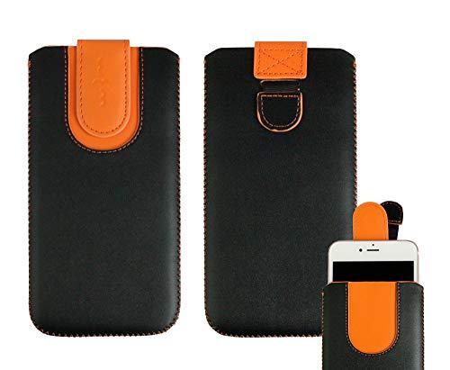 emartbuy Schwarz/Orangefarben Premium PU Leder Slide In Hülle Abdeckung Tashe Hülle Sleeve Halter (Größe SA6) Mit Zuglaschen Mechanismus Geeignet Für Die Unten Aufgeführten Smartphones
