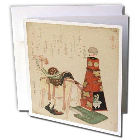 3drose afbeelding van Hokusai Woodcut hout paard en zadel schilderij - wenskaarten, 15,2 x 15,2 cm set van 6 (GC 252680 1)