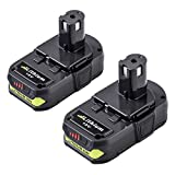 2-Pack 3.0Ah Replacement for Ryobi 18V Lithium Battery Compatible with Ryobi Battery 18V Lithium ONE+ P104 P105 P102 P103 P107 Cordless Tools