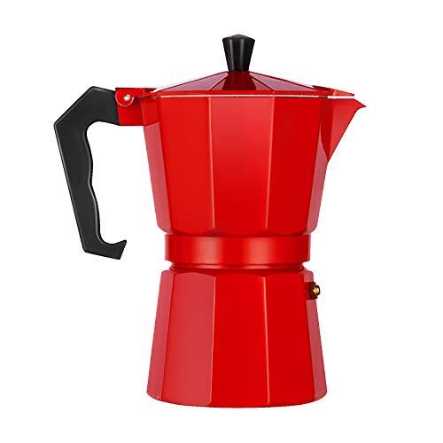 LQKYWNA Cafetera Octogonal Cafetera de café exprés Moka Mocha de Aluminio Cafetera para Oficina en el hogar de la Cocina (3 Tazas / 6 Tazas) (Red,300ml)