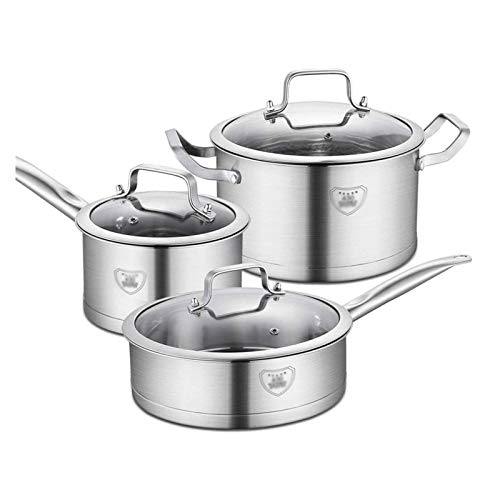 YYCHJU Cookware Set for Gas, Electric and Stovetop 430 Stainless Steel Cookware Suit Double Bottom Pot Three Piece Set Kitchen Cookware Sets Pots for Cooking Cookware Set