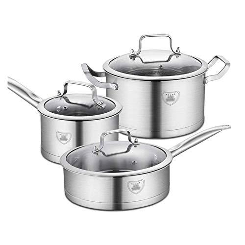 Batería de Cocina Antiadherente 430 Steet de utensilios de cocina de acero inoxidable Double Bottom Pot de tres piezas Conjunto de utensilios de cocina Conjuntos de utensilios de cocina para cocinar u
